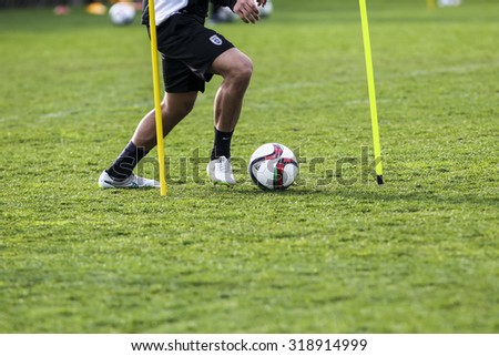 Thessaloniki, Greece- June 2, 2015: Players of Paok training for better shape, in Thessaloniki, Greece.