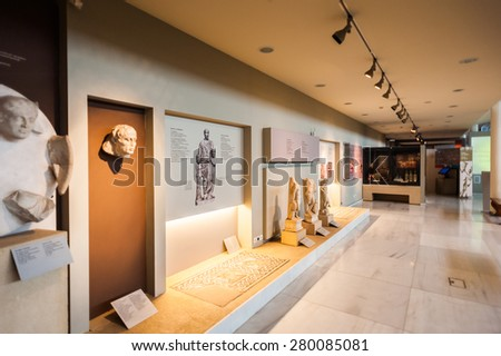 THESSALONIKI, GREECE - MAR 19, 2015: Objects in the Thessaloniki Archaeological Museum. It was established in 1962