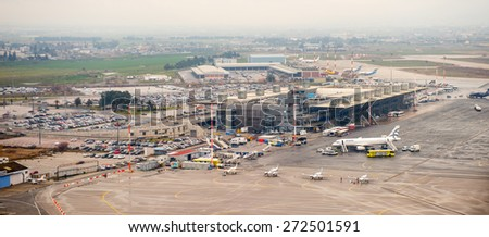 THESSALONIKI, GREECE - MAR 23, 2015: Thessaloniki International Airport Macedonia. it's a hub for Aegean Airlines, Astra Airlines, Ellinair, Ryanair - stock photo