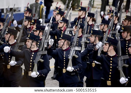 Thessaloniki, Greece - March 25, 2016. Hellenic Army recruits, participate in a parade for the Greek Independence Day, at the Greek city of Thessaloniki.