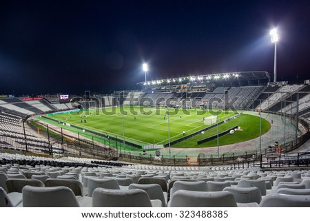 Thessaloniki, Greece- March 3, 2015: Toumba Stadium home of the PAOK Thessaloniki, Greece.
