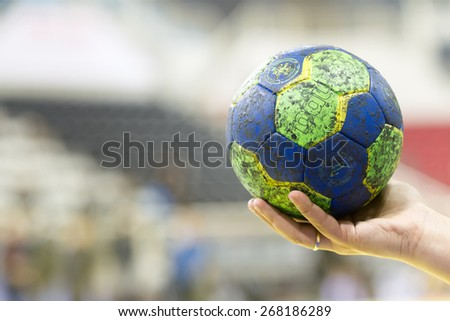 THESSALONIKI, GREECE, MARCH 27, 2015: Undefined hands holding a ball prior to the Greek Women Cup Final handball game  Paok vs Nea Ionia - stock photo