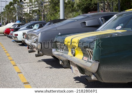 THESSALONIKI, GREECE- MAY 13, 2014: Classic cars of the participants of the rally Tour Amical in their car. A Classic Car Rally, in Thessaloniki, Greece. - stock photo