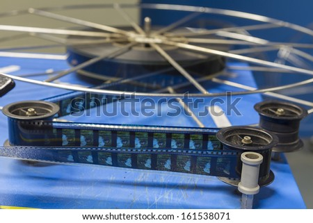 THESSALONIKI,GREECE - NOV 5:Old motion picture film reel during the TIFF on November 5, 2012. This festival is among the top film festivals of Europe and the oldest in the Balkans - stock photo