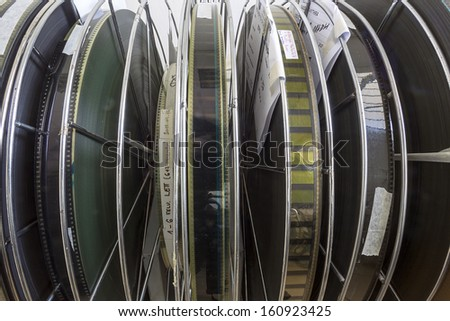THESSALONIKI,GREECE - NOV 5:Old motion picture film reels during the TIFF on November 5, 2012. This festival is among the top film festivals of Europe and the oldest in the Balkans. - stock photo