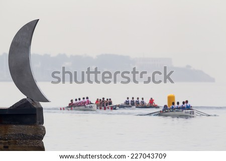 THESSALONIKI, GREECE �¢?? OCT 17, 2014 : Athletes competing during the 2014 World Rowing Coastal Championships Thessaloniki. Over 400 athletes from over 23 countries took part at the championships.   - stock photo