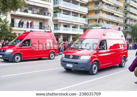 THESSALONIKI, GREECE - OCTOBER 28, 2014: Fire trucks on Ohi Day parade on October 28, 2014 in Thessaloniki, Greece. - stock photo