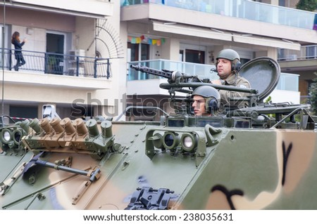 THESSALONIKI, GREECE - OCTOBER 28, 2014: Ohi Day parade of military technology on October 28, 2014 in Thessaloniki, Greece.