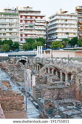 THESSALONIKI, GREECE - OCTOBER 17, 2013: The ruins of the Ancient Agora (Roman Forum) located in the modern city centre, on October 17 in Thessaloniki.