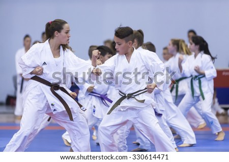 Thessaloniki, Greece, Oktober18 2015: Demonstration by men and women faculties of Japanese traditional martial arts, judo, karate, aikido, kendo - stock photo