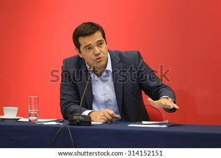 THESSALONIKI, GREECE - SEPT 7,2015:Syriza leader Alexis Tsipras press conference of 80th Thessaloniki International Fair in the northern port city of Thessaloniki on Sept 7,2015 in Thessaloniki,Greece