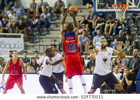 Thessaloniki, Greece - September 8, 2016: Cory Higgins of CSKA in action during the friendly match PAOK vs CSKA Moscow