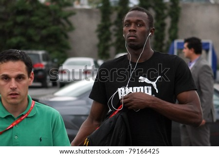 THESSALONIKI, GREECE -SEPTEMBER 11: Jamaican U. Bolt arrives in the training center for the IAAF World Athletics Finals main event in Kaftatzoglio Stadium on September 11, 2009 in Thessaloniki,Greece - stock photo