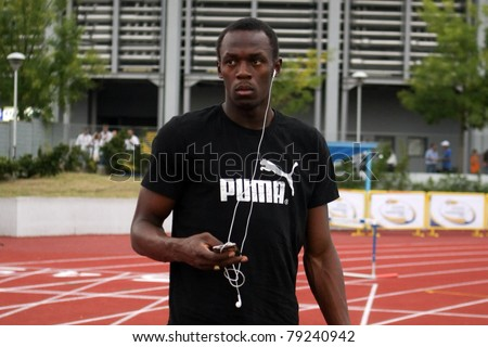 THESSALONIKI, GREECE -SEPTEMBER 11:Jamaican U.Bolt relaxing in the training center for the IAAF World Athletics Finals main event in Kaftatzoglio Stadium on September 11, 2009 in Thessaloniki,Greece - stock photo