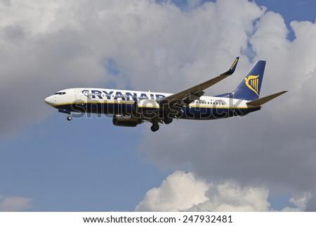 THESSALONIKI, GREECE - September 4, 2014: Ryanair, Boeing 737-800, Registration: EI-DPT aircraft landing at International Airport 'Makedonia', Greece - stock photo