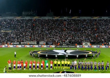 Thessaloniki, Greece, September 15, 2016: Team line ups with view of the Europa League Anthem center cicle sheet before the UEFA Europa League match between PAOK vs ACF Fiorentina played at Toumba