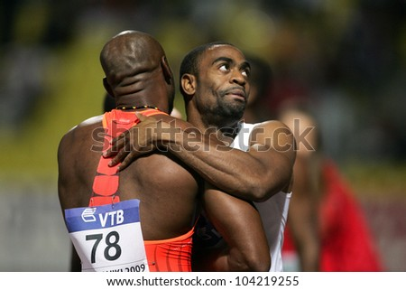 THESSALONIKI, GREECE - SEPTEMBER 12: Tyson Gay and Asafa Powell after the final Mens 100m  on September 12, 2009 in Kaftatzoglio stadium, Thessaloniki, Greece