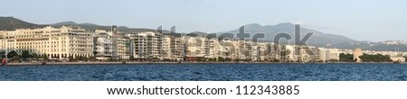Thessaloniki waterfront panorama. Nikis Avenue From Aristotelou square to the White Tower. - stock photo