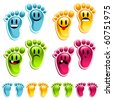 They are not stinky feet, they are smiley feet! - stock vector