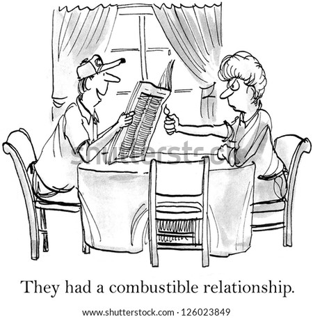 They had a combustible relationship, husband and wife. - stock photo