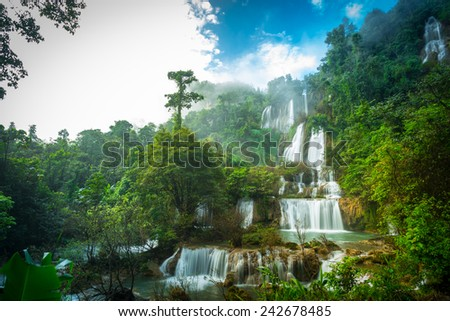 Thi Lo Su Waterfall or Thee Lor Sue  in Thailand - stock photo