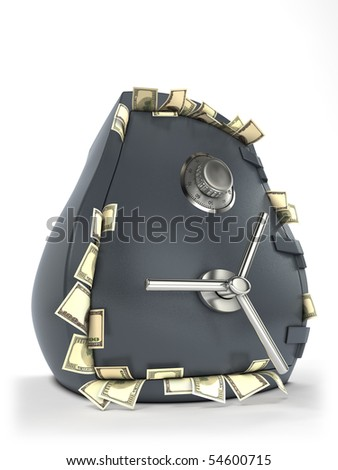 Thick bank safe with money sticking out