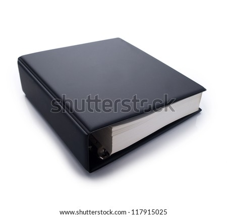 Thick blank black binder often used for technical specifications. isolated on white - stock photo
