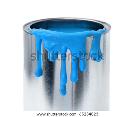 Thick blue paint dripping tin can container on white background
