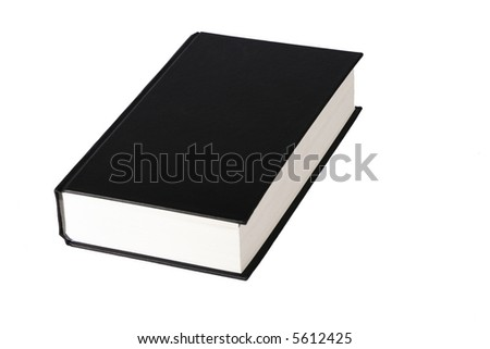 Thick Book With A Black Blank Cover On A White Background - stock photo