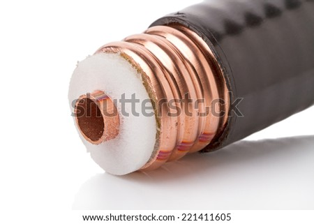 Thick coaxial cable used for cellular operators. Isolated on white background  - stock photo