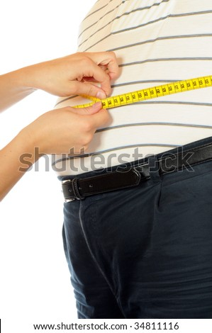 Thick man with tape measure - stock photo