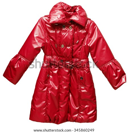 Thick padded, red, warm, long, winter childrens jacket. Stylish and bright on a white back ground. - stock photo