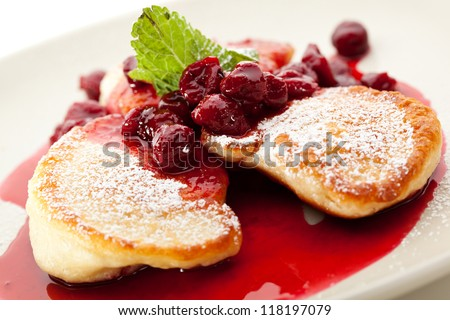 Thick Pancake with Berries and Mint