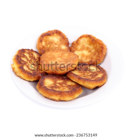 thick pancakes isolated on white - stock photo