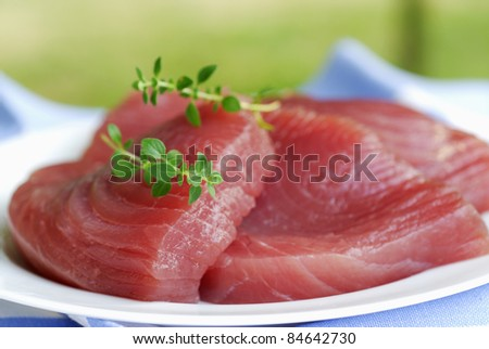 Thick piece of raw tuna