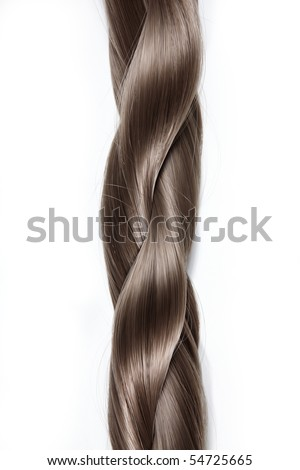 Thick plait from hair on a white background - stock photo