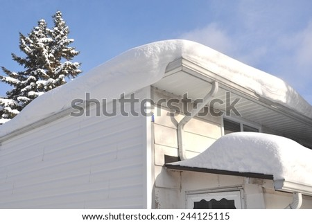Thick snow in roof - stock photo