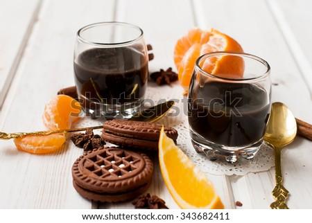 ... chocolate chip cookies, cardamom and cinnamon sticks, hot chocolate on