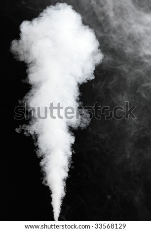 thick stream of fog isolated on black - stock photo