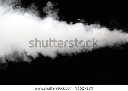 thick stream of smoke isolated on black - stock photo