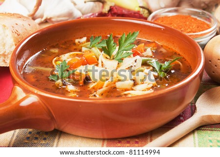 Thick vegetarian minestrone soup with noodle and vegetables - stock photo