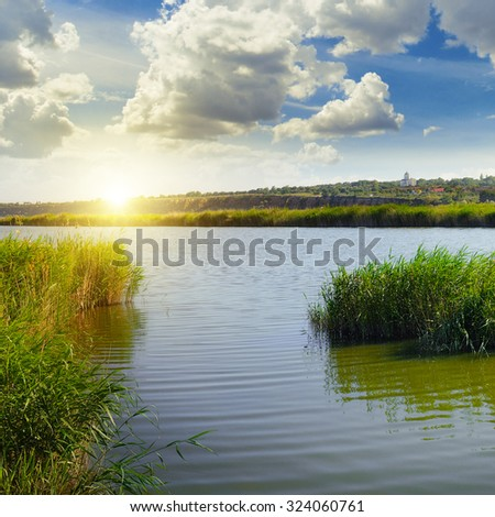 thickets of reeds on the lake and sun - stock photo