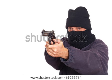 Thief Aiming a Gun on a Robbery