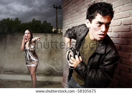thief and woman on alley - stock photo
