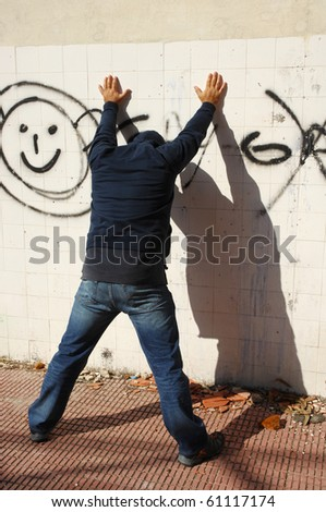 thief being arrested - stock photo