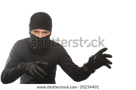 thief creeps on the isolated background
