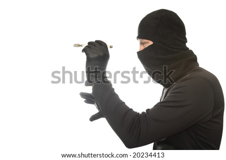 thief cuts glass on the isolated background - stock photo