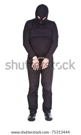 thief handcuffed isolated on white background - stock photo