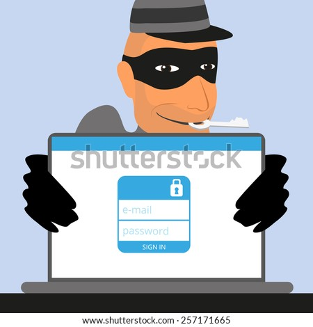 Thief has a key for an account of social networking. - stock photo