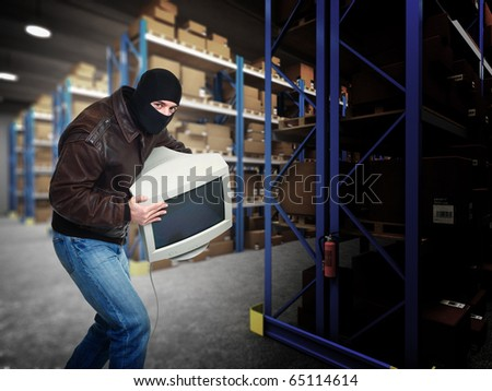 thief in action classic warehouse 3d background - stock photo